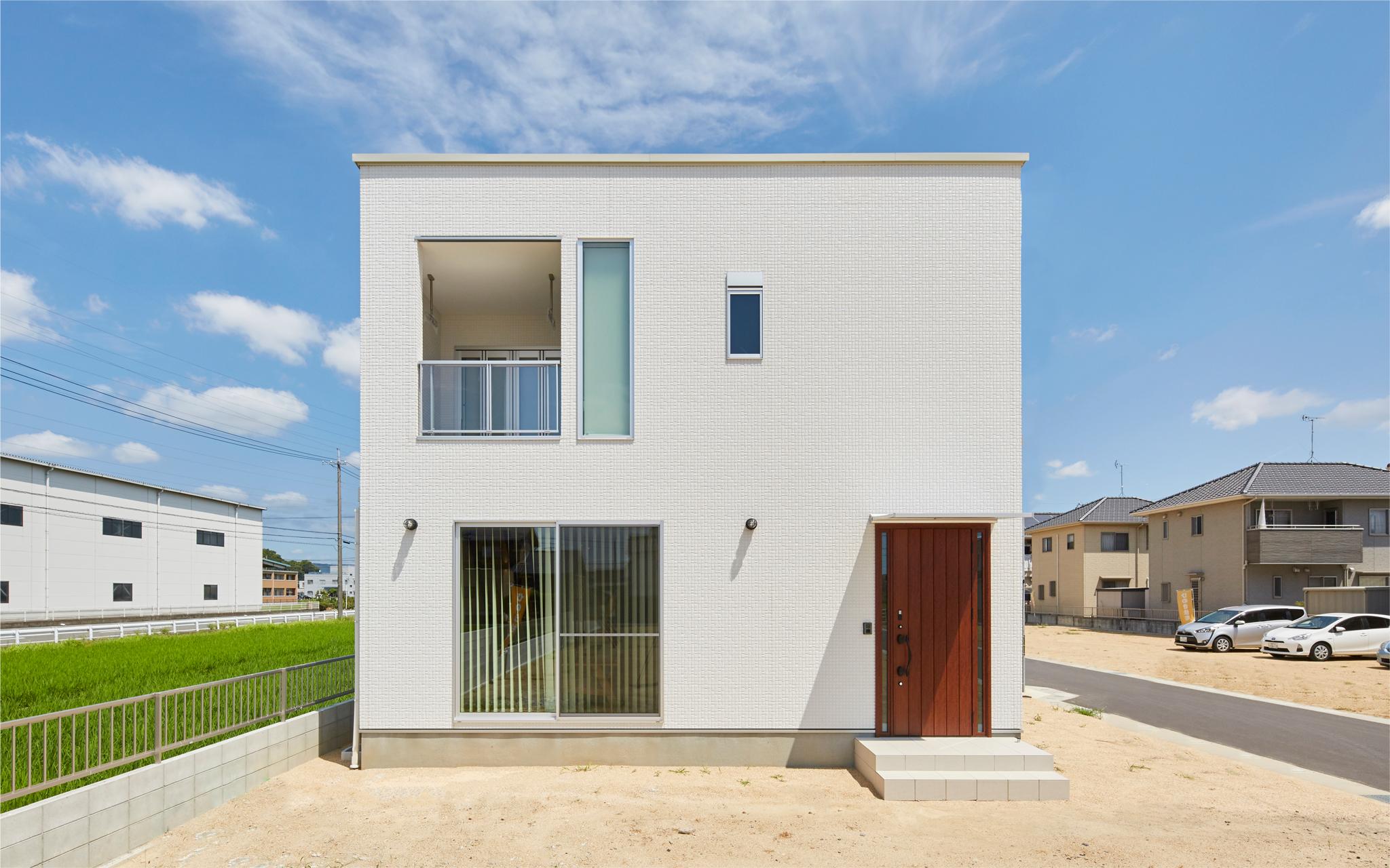 玉島乙島 モデルハウス完成見学会 キューブ型のシンプルモダンな家